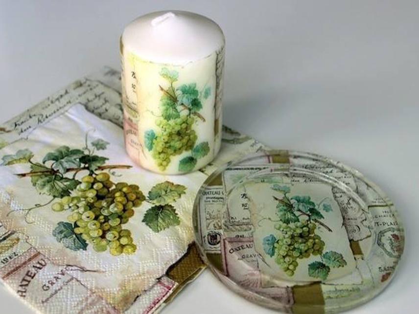 Декупаж свечей салфетками